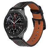 iBazal 22mm Cinturino Pelle Cuoio Braccialetto Compatibile con Samsung Galaxy Watch 3 45mm/Gear S3 Frontier Classic,Galaxy Watch 46mm,Huawei GT,Ticwatch Pro (Orologio Non Incluso) - Nero/Arancione