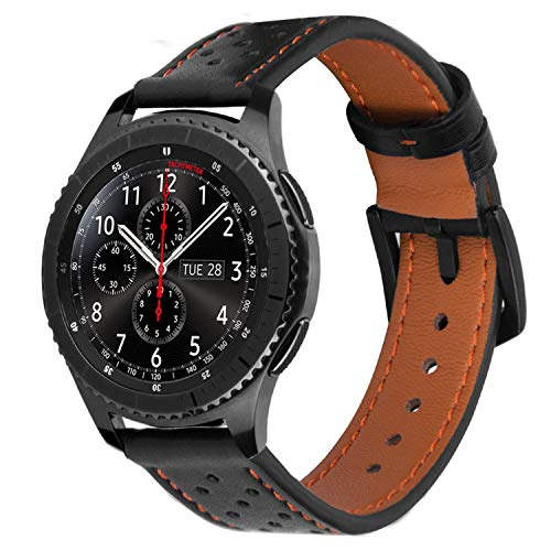 iBazal 22mm Armband Leder Uhrenarmband Armbänder Ersatz für Samsung Gear S3 Frontier/Classic SM-R760/770,Galaxy 46mm,Huawei GT/Honor Magic/2 Classic,Ticwatch Pro,Moto 360 2nd Gen 46 - Schwarz/Orange