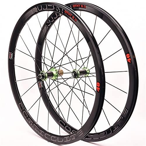 DHMKL 700C Road Bike Wheels,Ultra-Light 120 Ring/V/C Brake/Reflector/Carbon Fiber Tube Hub/Aluminum Alloy Rim/Support 23C 25C 28C Tire/Support 8-9-10-11 Speed (Five Colors Optional)