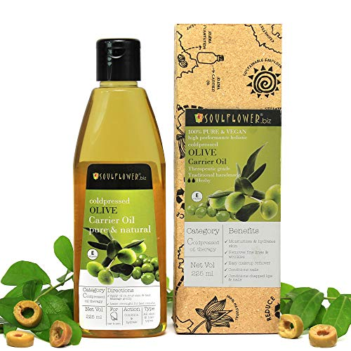 Soulflower Olive Oil, 225ml 100 % Natural Cold Pressed for Skin, Hair & Lips – Natural Makeup Primer