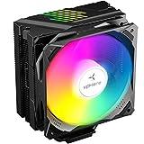 upHere N1055CF CPU Cooler Dynamic Rainbow LED,5 Copper Heat Pipes,120mm PWM Fan, Aluminum Fins for AMD Ryzen/Intel