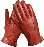 Elma Men's Touchscreen Winter Leather Gloves Lining Cashmere (9, Saddle, EM011NR1)