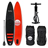 Retrospec Weekender 10' Inflatable Stand Up Paddleboard Bundle w/ carrying case, aluminum paddle, removable nylon fins, manual pump & cell phone case, pump & rucksack, Black & Red