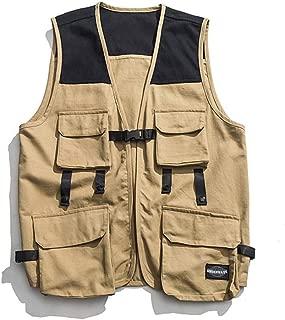 XXT Vest Multi-Pocket Tooling Retro Vest Casual Sleeveless Jacket Practicality (Color : Khaki, Size : XL)