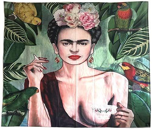 AMCYT Frida Kahlo y alfombra de flores, tapiz, tapiz de pared, con decoración Art Nature Home para salón o dormitorio (150 x 130 cm)