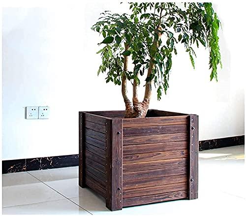 Planter boxPlanting Box Verhoogde Tuin Bed Vierkant Massief Houten Bloempot Balkon Hoge Temperatuur Carbonisatie Containergarden Bed