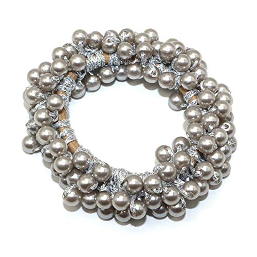 Hair band Woman Big Pearl Hair Ties Fashion Korean Style Hairband Scrunchies Girls Ponytail Holders Rubber Band Hair (Color : Silver)