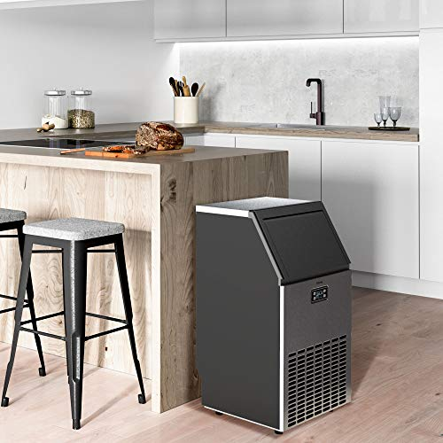 hOmeLabs Freestanding Commercial Ice Maker Machine - Makes 99 Pounds Ice in 24 hrs with 29 Pounds Storage Capacity - Ideal for Restaurants, Bars, Homes and Offices - Includes Scoop and Connection Hose