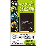 エアージェイ  AC急速充電器 3A 3台同時充電 スマホ&タブレット MicroUSB×3 ブラック AKJ-TR6