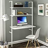 Sedeta Ladder Desk, Wall Mounted Table with 2 Shelves, Computer Desk with Bookshelf for Small Space, Studying Writing Table Workstation Modern Simple Student Desk for Home Office, White