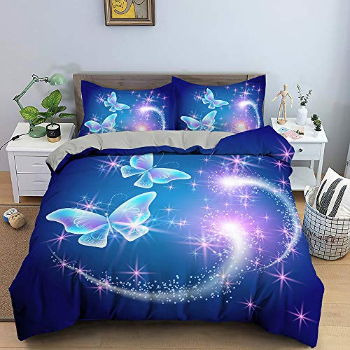 Nordic Modern Home Textiles Bedding Set Small Fresh Fantasy Butterfly Blue Duvet Cover Queen King Size Soft Comforter Set Double Single The Comfy for Girl Boy Teens Adult,Twin