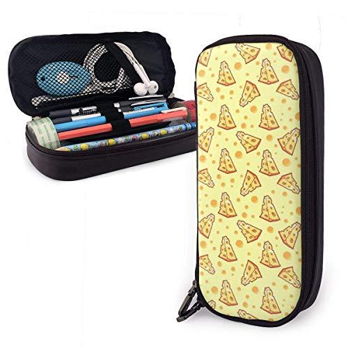 Queso de pizza Estuche multifunción de cuero de PU con cierre de cremallera, estuche de transporte para útiles escolares, material de oficina