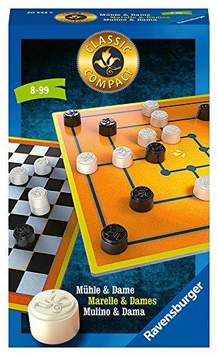 Ravensburger Mitbringspiele 20545 - Classic Compact: Mühle & Dame, zwei Taktikspiele ab 8 Jahren