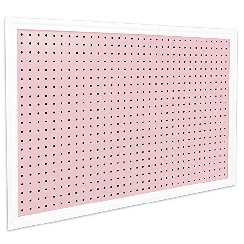 Pegboard Organizer - Craft Peg Board| Nursery Storage| Wall Organizer and More| Comes with 1 x Free Shelf | Fits Most 1/4' and 1/8' Pegboard Accessories (Blush Pink/White)