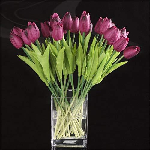 U/K Ramo de tulipanes artificiales cómodos, flores de seda falsas, plantas para el hogar, decoración de boda, lila, 10 unidades, duradero y útil