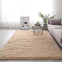 ラグ カーペット 長方 形,For リビングや寝室 ベッドルーム・シェッド カーペット,極厚 ソフトスリップ 簡単に清掃 カーペット,ふわふわ 居心地 ラグ-明るいベージュ. 100x200cm