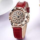 Voigoo Luxuxfrauen Uhren Mode Rotated Dial-Dame-Quarz-Uhr-Leder-Liebhaber Mädchen Armbanduhr Weibliche Uhr Relogio Feminino