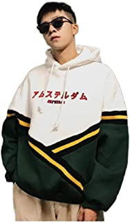 Tralounry Men Embroidery Pullover Big & Tall Hit Color Sports Hoodies Sweater