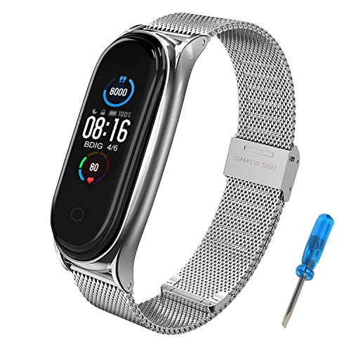BDIG Mi Band 5 Strap Mi Band 4 Straps Bracelet Replacement,Stainless Steel Metal Wrist Strap Wristband WatchBand Accessories for Xiaomi Mi Band 5 Miband 3, Silver