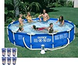 Intex 12ft x 30in Metal Frame Round Swimming Pool Set 530 GPH Pump & 6 A Filters