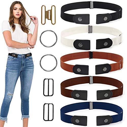 Cintura Elastica,5PCS Cintura Senza Fibbia,cinture elastiche invisibili,Cintura Invisibile Regolabile in Vita,Cintura Donna per Vestiti,Cinture Elastico,Cintura Senza Fibbia Regolabile (A)