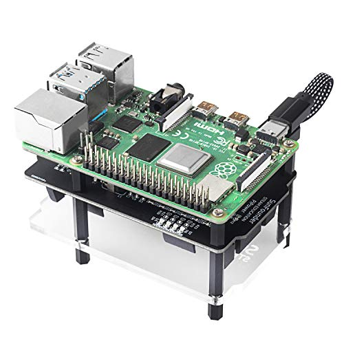 SUNFOUNDER Raspberry Pi UPS HAT Power Supply Module with Recharging Function 5V/3A Lithium Battery Power Pack Expansion Board for Pi 4B 3B+ 3/2B and 1 Model B+, Battery Not Included