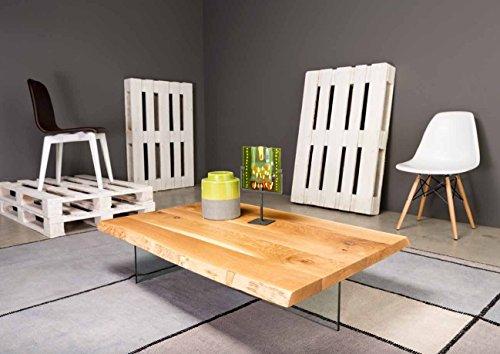 Legno&Design Table basse moderne pour salon en hêtre et pieds en verre trempé.