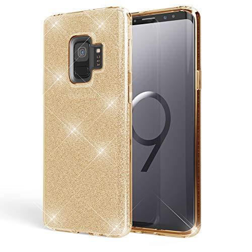 NALIA Handyhülle kompatibel mit Samsung Galaxy S9, Glitzer Ultra-Slim Silikon-Hülle Back-Cover Schutzhülle, Glitter Sparkle Handy-Tasche Bumper, Dünnes Bling Strass Phone Etui, Farbe:Gold