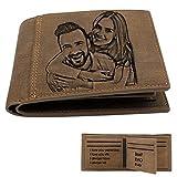 Portafoglio da uomo con incisione tripla e foto personalizzata, regalo di Natale per marito/papà/figlio