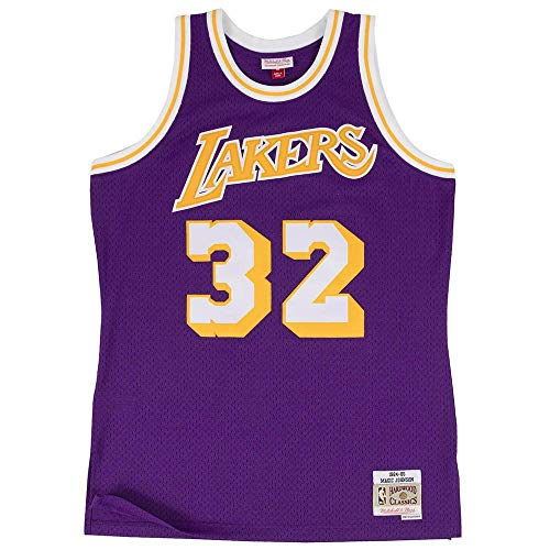 Mitchell & Ness Magic Johnson #32 Los Angeles Lakers 1984-85 Swingman NBA Trikot Lila, XL