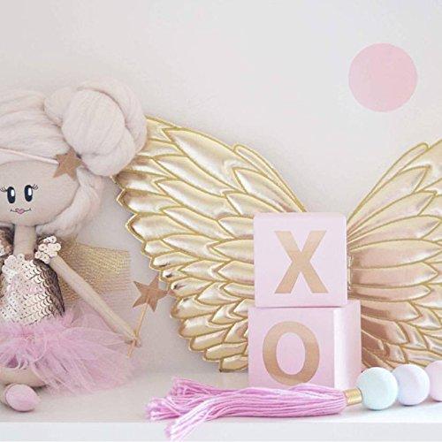 Beautop Quadratische X O Holzbox für Kinderzimmer im nordischen Stil, mit rosa Glizer, mit quadratischen X O  Ornamenten, holz, rose, 5×5×5cm