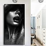 Pintura al óleo de mujer de arte africano desnudo dorado negro sobre lienzo Cuadros carteles e impresiones imagen de pared escandinava para sala de estar 60x120 CM (sin marco)