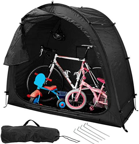 MBEN Bike Tent Storage Shed Tent with Window, 190T Multifunctional Outdoor Waterproof Sun Shade Tent For Storage Fishing, Insect Control Space Saving,Black