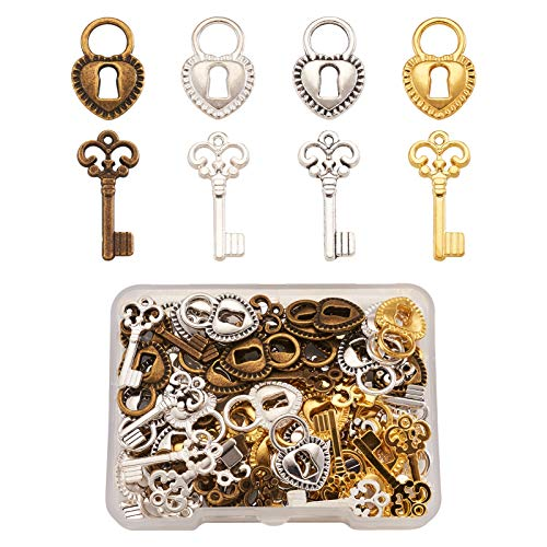 Craftdady 80Pcs Tibetan Lock&Key Pendants 4 Colors Filigree Padlock Skeleton Key Charms for Necklace Jewelry Crafts Making
