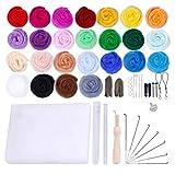 SUPVOX kit de herramientas de arranque de mecha de lana para los suministros de fieltro de fibra de hilo de la aguja de fieltro de regalo animales