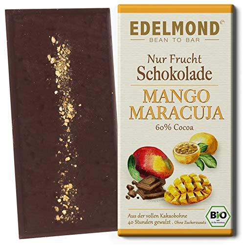 Edelmond Vegane Zartbitter Schokolade Mango Maracuja. Ohne Zucker, Laktosefrei, Bio. Langzeit geführter Fair Trade Kakao (1 Tafel)