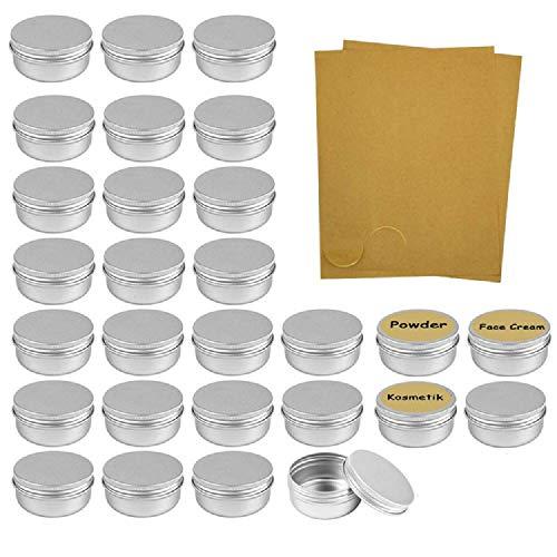 Ealicere 28 Pcs 5 ml, tarros vacíos de Aluminio Plateado, Recipiente de cosmética para muestras de bálsamos labiales o cosméticos, Cierre de Rosca
