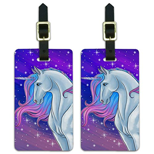Majestic Unicorn Pink Purple Blue Luggage ID Tags Carry-On Cards - Set of 2