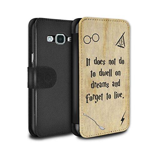 Hülle Für Samsung Galaxy Grand Prime Schule der Magie Film Zitate Dwell On Dreams Design PU Leder Tasche Brieftasche Schutz Handyhülle Flip Hülle