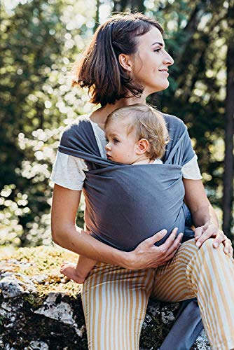 Écharpe de portage pour bébé en coton élastique, douce, naturelle et certifiée jusqu'à 15 kg Deux bavoirs offerts