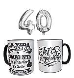 Los Eventos de la Tata. Pack de Taza para regalar en 40 cumpleaños con Globos de 40