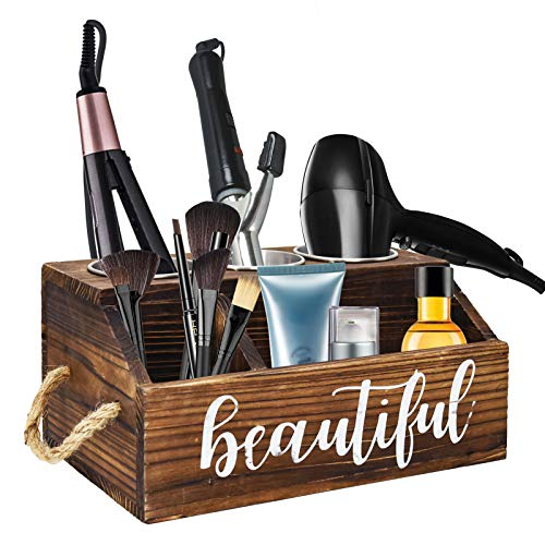 Rustic Wood Hair Dryer Holder Hair Styling Product Care Tool Organizer Bathroom Countertop Vanity Caddy Storage Stand for Blow Dryer Straightener Curling Iron with 3 Stainless Steel Buckets Brown