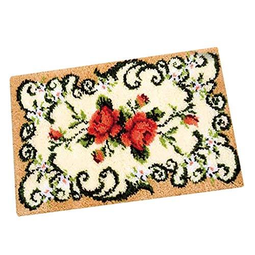 Neue dekorative Blumen-Teppich Häkeln Kit DIY Kissen Teppich Blumen Knüpfteppich Kit Needlework Häkeln Sticken
