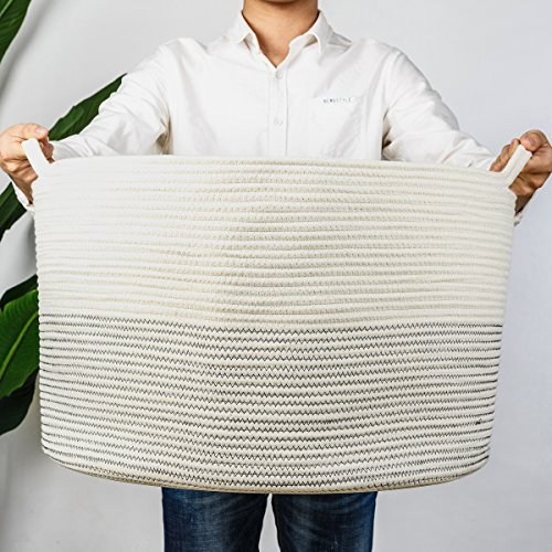 INDRESSME XXXLarge Cotton Rope Basket 217quot x 217quot x 138quot Woven Baby Laundry Basket for Blankets Toys Storage Basket with Handle Comforter Cushions Storage Bins Thread Laundry HamperBlack Stitch