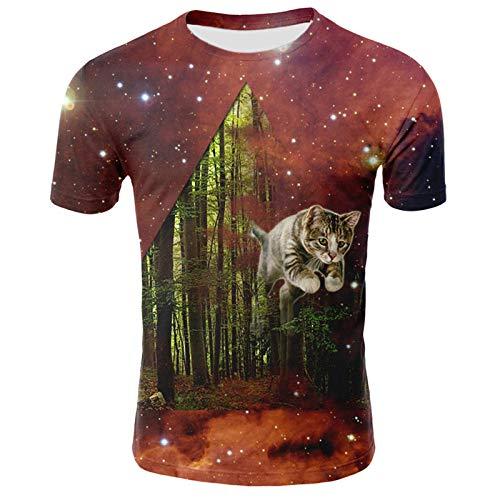 Zzfklj 3D Cat Camiseta para Mujeres Hombres Camisetas Divertidas Camiseta de Manga Corta Summer Owl Camisetas Cool Streetwear Galaxy Space 3D camiseta-T15_4XL