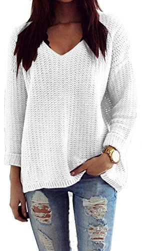 Mikos*Damen Pullover Winter Casual Long Sleeve Loose Strick Pullover Sweater Top Outwear (627) *Hergestellt in der EU - Kein Asienimport* (Weiß)