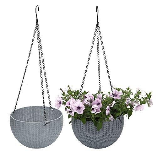 T4U Plastik Blumenampeln mit Ratten-Muster Rund, Hängepflanztöpfe für Innen- und Außenbereiche, Grau 2er-Set