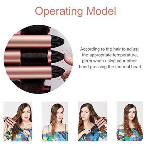 3 Barrel Curling Iron,1 inch Triple Three Barrel Hair Waver Mermaid Beach Waves Curling Wand Ceramic Tourmaline Temperature Adjustable Curler Irons with LCD Display for Hair Styling Set(Rose,Black)