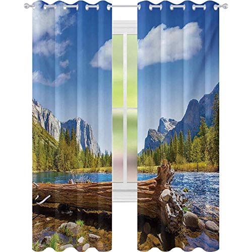Cortinas de ventana con reducción de ruido, Yosemite Merced River El Capitan Media cúpula en el Parque Nacional de California, 52 x 95 cortinas opacas para habitación de niños, verde azul