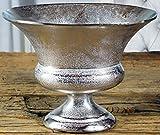 MichaelNoll Vase Blumenvase Gefäß Pokalvase Dekovase Aluminium Silber Luxus, Deko Modern aus Metall, Wohnzimmer und Küche, M 38 cm